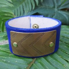 Leather cuff with chevron  etched brass jewelry  by WhyitsmeDesign