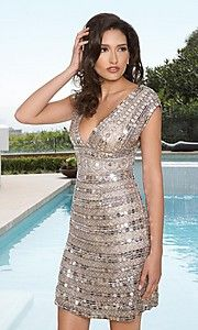 Scala V-neck Sequin #Dress at SimplyDresses