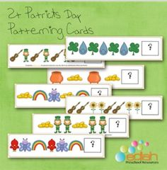 This set includes 7 Patterning Cards and matching answer pieces. There are several different types of patterns included in this set.Take a look at the free download to see a larger picture. ***Please note that the Farm Pattern Cards ARE included in my St.