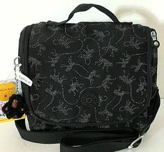 c18984476 KIPLING Kichirou Insulated Lunch Bag Crossbody Black & Beige Monkey Print  NEW #Kipling #MessengerCrossBody