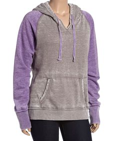 Look at this Grape & Gray Raglan Pullover Hoodie - Plus on #zulily today!