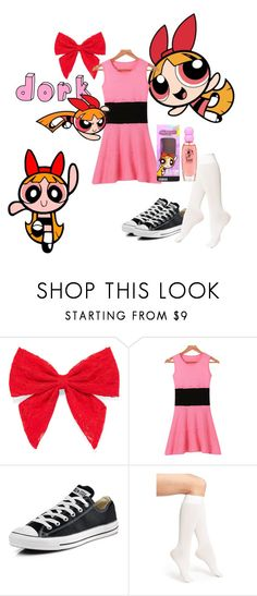 """""""Quick cosplay: Blossom (PPG)"""" by jlafaye on Polyvore featuring Carole, Converse, DKNY, THE POWERPUFF GIRLS, women's clothing, women, female, woman, misses and juniors"""