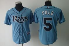 Rays #5 Sam Fuld Light Blue Cool Base Embroidered MLB Jersey! Only $18.50USD