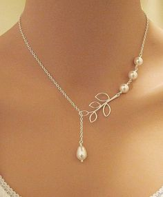 GRACE - Swarovski Pearls and Branch sterling silver necklace. Bridal. Wedding. Bridesmaids Gift.