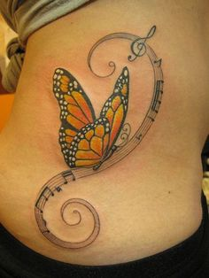 Monarch butterfly Tattoo designs are mostly used by females as it indicates excessive womanliness. The monarch butterfly tattoo design has very strong significance and should be carried by those who are very elegant. Monarch Butterfly Tattoo, Butterfly Music, Butterfly Tattoo Meaning, Butterfly Tattoos For Women, Butterfly Tattoo Designs, Purple Butterfly, Butterfly Design, Music Tattoo Designs, Music Tattoos