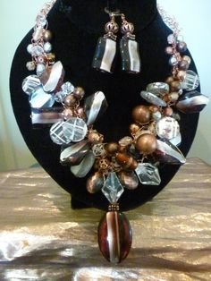 HAND Crocheted Necklace Lucite and Copper by myhandmadejewelry4u, $40.00