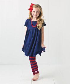 Look at this RuffleGirl Navy & Red Stripe Legging Set - Infant, Toddler & Girls on #zulily today!