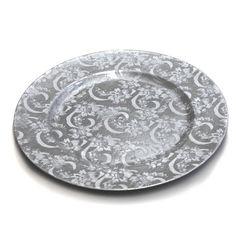 "Signature Series Vintage Paisley Print, Silver. 13"". $47.52/24 Pk at EventDecorDirect.com, 6/30/16"