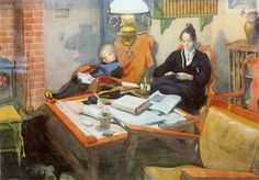 Carl Larsson - At the Evening Lamp