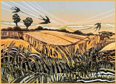 """Swallows in July"" Linocut by Rob Barnes. http://www.robbarnesart.co.uk/ Tags: Linocut, Cut, Print, Linoleum, Lino, Carving, Block, Woodcut, Helen Elstone, Landscape, Animals, Birds, Trees, Sky"