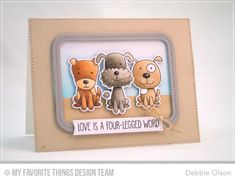 Four-Legged Friends Stamp Set and Die-namics, Single Stitch Line Rounded Rectangle Frames Die-namics, Blueprints 25 Die-namics - Debbie Olson  #mftstamps