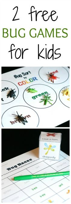 2 printable bug games teach kids graphing and sorting - important early math skills.
