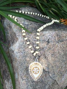 Tibetan White Bone Pendant Necklace