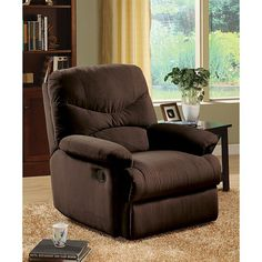 Rich chocolate brown microfiber upholstery highlights this recliner chair. This furniture features a steel recliner mechanism and requires only 5 inches of space from a wall for full recline.