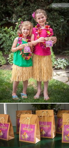 Tropical Luau Party Favor Ideas- I would tie one of the diy luau flowers from another post to the middle of the bow