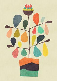 Potted Plant 4 Mini Art Print by Picomodi - Without Stand - x Mid Century Modern Art, Mid Century Art, Art And Illustration, Creative Illustration, Stoff Design, Inspiration Art, Vintage Canvas, Canvas Prints, Art Prints