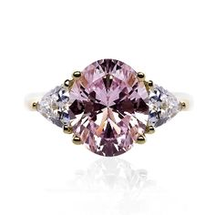 Oval lab created pink and white diamond engagement ring - 4CT center stone - $216.00