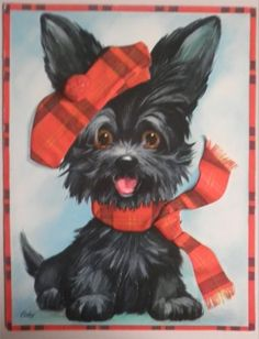 Large Embossed Vintage Gift Card Black Scottish Terrier