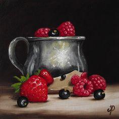 Silver & Summer Fruits, J Palmer Daily painting Original oil still life