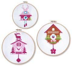 Set of 3 Fuschia Cuckoo Clocks Cross Stitch Pattern Instant Download