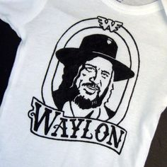 Hand Painted Waylon Jennings Baby Bodysuit or Kid's T-Shirt (pick your size) country music - 1970s - retro - black and white on Etsy, $18.50