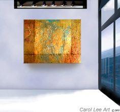 ORIGINAL painting textured metallic impasto golden modern fine art abstract angel: Visit Carol Lee art studio