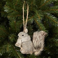 Buy John Lewis Knitted Squirrel Tree Decoration, Grey Online at johnlewis.com