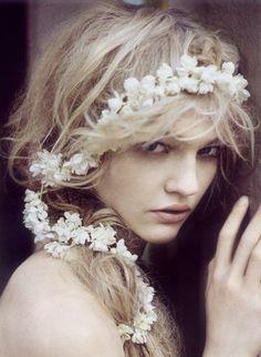 Floral crown . Headpiece . Flower garland . Wedding hair .