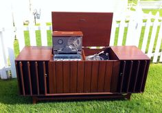 Vintage Zenith Stereo Console with Pop-Up Reel-to-Reel & Speaker Louvres