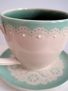 Doily Trimmed Teacup in Minty Green with Matching Doily Saucer Stoneware Set. $36.00, via Etsy.