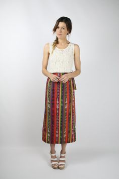 Ikat Vintage Skirt Rainbow stripe by #renewvintage  #ikat #southwestern #rainbow #ethnic #vintageskirt #hippie