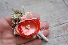 Coral Boutonniere Fabric flower and vintage by thepaisleymoon, $14.00