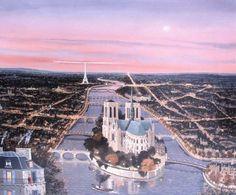 Michel Delacroix - La Cœur de Paris au Ciel Rose (The Heart of Paris with Pink Sky)