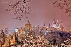 Prague Castle - view from Marianske walls. The law - St. Vitus Cathedral, the Basilica of St. George, Daliborka tower. Prague, Czech Republic. Photo Pavla Soukupova