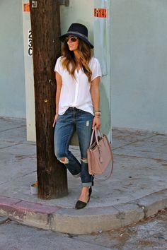 navy fedora, boyfriend jeans