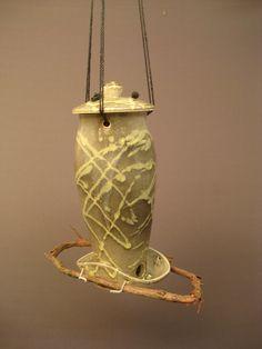 bird feeder pottery (!!!)-put twig perch on guord birdhouse