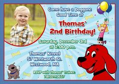 Clifford the Big Red Dog Birthday Party Invitations by ThePartysOn, Leo Birthday, 5th Birthday Party Ideas, Birthday Party Invitations, Halloween Contacts, Red Dog, First Birthdays, Party Time, Red Contacts, Logan