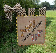 Custom House Divided Burlap Garden Flag  by sewgoddesscreations, $25.00