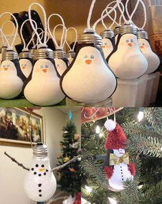 Haz tus adornos de navidad, con bombillas viejas