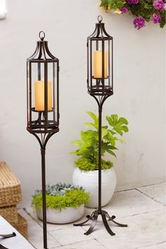 "#Marrakech Hanging Lantern and Stand P91574S   $115.00 Marrakech Hanging #Lantern P91574   $75.00 Marrakech Stand P91550    $50.00 A striking silhouette inspired by #Moroccan architecture lends our lantern a sense of intrigue. Add your own pillar candle for a soft glow. Crafted from weather-resistant metal with glass panels. Sits on tabletop or display with the stand. Stand requires simple assembly. Lantern: 17""h, 6¼""w; Assembled at full height: 44½""h, 16""w."