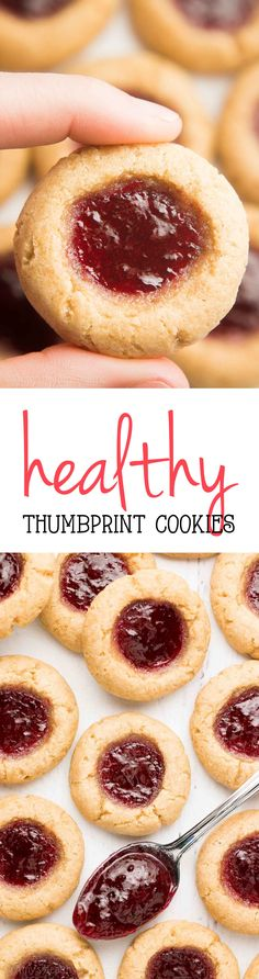 Healthy Thumbprint Cookies Recipe -- only 46 calories & SO easy! They're the BEST I've ever had! And my friends and family completely agree! | easy thumbprint cookies | jam thumbprint cookies | easy healthy cookies