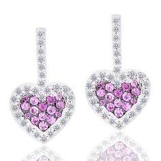 Malakan Jewelry - Silver Pink Sapphire Heart-Shaped Diamond Drop Earrings 56404A5