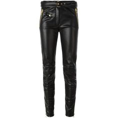 Moschino imitation leather trousers ($575) ❤ liked on Polyvore featuring pants, black, faux leather trousers, ankle zip pants, fake leather pants, imitation leather pants and super skinny pants