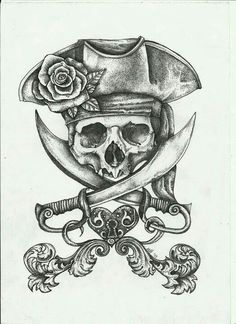 Pirate Dreams by fitakerfuffle - Piraten Tattoo - Kunst Tattoos, Tattoo Drawings, Tattoo Sketches, Pirate Skull Tattoos, Pirate Ship Tattoos, Pirate Hat Tattoo, Pirate Tattoo Sketch, Pirate Anchor Tattoo, Pirate Hat Drawing