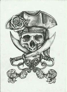 Pirate Dreams by fitakerfuffle - Piraten Tattoo - Kunst Tattoos, Tattoo Drawings, Tattoo Sketches, Pirate Skull Tattoos, Pirate Ship Tattoos, Pirate Hat Tattoo, Pirate Tattoo Sketch, Pirate Anchor Tattoo, Pirate Hat Drawing