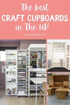 Craft Tables With Storage, Craft Storage Cabinets, Craft Cupboard, Craft Cabinet, Diy Craft Projects, Fun Crafts, Furniture Makeover, Diy Furniture, Desk Arrangements