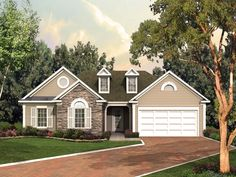 Traditional Plan Front of Home 053D-0053 | House Plans and More from houseplansandmore.com