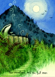 IF104 The Mountain and the Full Moon - A Two Bad Mice Card by Fran Evans