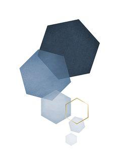 Blue hexagon, plakater