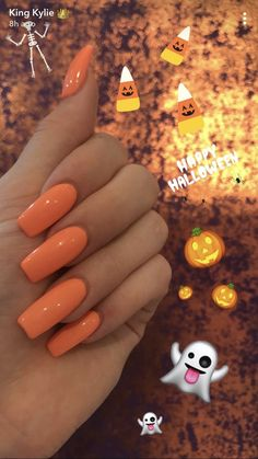 Kylie Jenner Halloween nails 2017 Kylie Jenner Halloween nails 2017 The post Kylie Jenner Halloween nails 2017 appeared first on Halloween Nails. Acrylic Nails Natural, Orange Acrylic Nails, Nails Yellow, Fall Acrylic Nails, Acrylic Nail Designs, Orange Ombre Nails, Orange Nail Polish, Nail Pink, Matte Nail Art